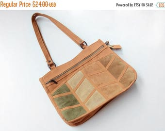 Summer Sale - 1970s Canvas and Suede Purse