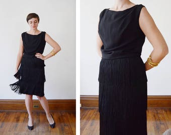 Late 60s / Early 1970s Black Fringe Cocktail Dress - XS/S