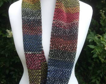 Knitted,rainbow,infinity, scarf