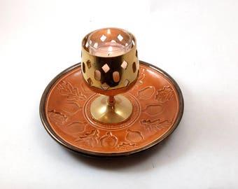 CELTIC OAK Acorn Plate Handmade Orange