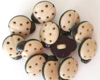 See Shop Announcement for 60% off discount code - Lady Bug Tan Buttons - 9/16 x 1/2 inch - YOU PICK QUANTITY - 18 thru 90