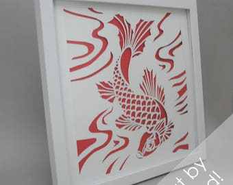 Koi fish - modern PAPER CUTTING - handmade art, unique wall art, details, pattern, choose your own color, design,modern art,white