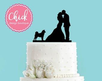 Couple Kissing with Shiba Inu Dog Wedding Cake Topper