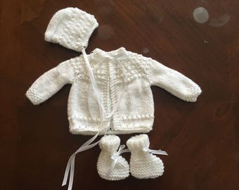 White Handknit Layette Set Jacket, Bonnet And Booties Newborn