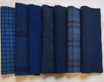 Navy Blue Hand Dyed Felted Wool Fabric Bundle Perfect for Quilting, Sewing, Wool Applique, Rug Hooking