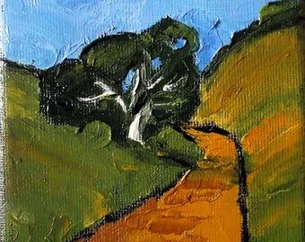 Miniature Impressionist Painting 4x4 Plein Air California Landscape Oak Hills Lynne French
