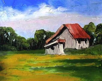 Impressionist Oil Painting California Plein Air Landscape Farm Barn Summer Fields 11x14 Lynne French