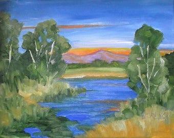 Impressionist O/C River Painting California Plein Air Landscape Stream Meadows Eucalyptus 11x14 Lynne French