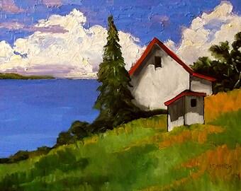 Impressionist 18 x 24  Painting CALIFORNIA Plein Air North Coast Pacific Ocean Cottage Landscape Art Lynne French