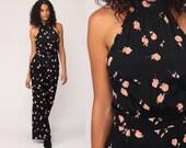 Bell Bottom Jumpsuit Black Floral Catsuit 90s Does 70s Boho HALTER NECK Party Disco Pantsuit Flared Vintage Pants Romper Summer Small
