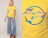 Graphic Tee Shirt MYRTLE BEACH Tshirt South Carolina Shirt 80s Tshirt Bird Shirt Vintage Retro T Shirt 1980s Yellow Girly Small Medium