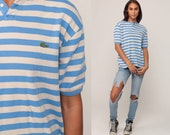 Lacoste Polo Shirt Striped Shirt 90s Top Izod CROCODILE Hipster 1990s Vintage Retro Preppy Blue Extra Large xl