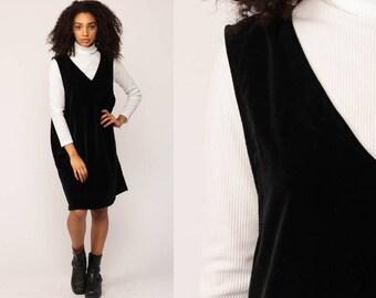 Black Velvet Dress JUMPER Dress 90s Mini Shift V Neck 1990s Grunge Pinafore Gothic Lolita Vintage Minidress Goth Sleeveless Extra Large xl