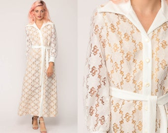 Lace Maxi Dress 70s Crochet Boho White Bohemian Wedding Party Sheer Long Sleeve BELTED 1970s Hippie Vintage Button Up Hippy Small Medium