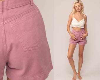 Pink Denim Shorts High Waisted Shorts 80s Jean High Waist Hippie 90s Boho Vintage Hipster Bohemian Retro Hi Waist Shorts Small 26