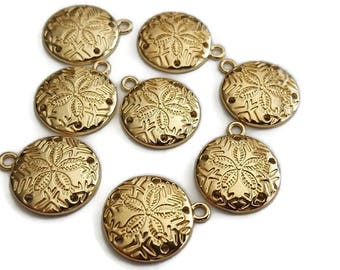 Sand Dollar Charms Round Gold Plated 21mm x 18mm (4)