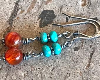 Carnelian Earrings, Tibetan Turquoise Earrings, Carnelian Drop Earrings, Petite Jewelry, Blue & Orange Gemstone Drop Dangle Earrings