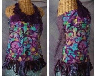 Batik Boho Halter Top Large, XL Plum Tribe Tie Dye Gypsy Bohemian Tribal Sari Silk Fringe Festival Clothing Hippie Womens