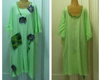 Summer Day Dress Large up to 4X Plus Sizes Trendy Quilted Plum Sunflowers Lagenlook Art Wear Womens Boho Cotton Gauze Sari Silk