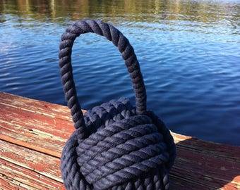 2 Navy Blue Doorstops - Nautical Doorstop - Nautical Gift - Rope Doorstop - 2 Blue Doorstops- For her - Bedroom Doorstop - Nursery Doorstop