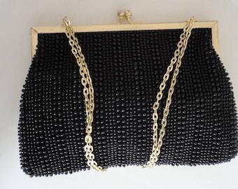 60s Black  plastic beaded evening purse 60s Made in Hong Kong Artel