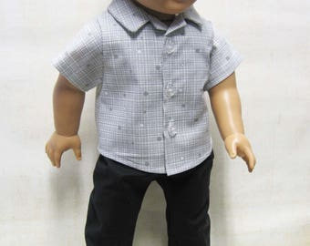 """Gray Sport Shirt with Black Pants for Logan and other 18"""" Boy Dolls"""