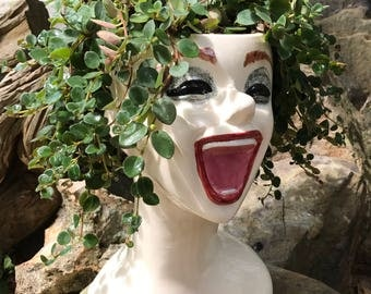Head planter, female, laughing, ceramic, bust, succulent planter, unique, planter, flower pot