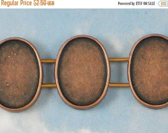 ON SALE 10 Copper 2 Strand Oval Bezel Setting Sliders - Glue in Cabochons or Resin, Glaze, Epoxy (P965)