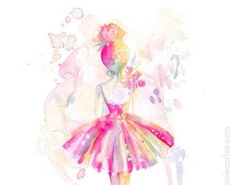 Pink Ballerina - PRINT, ballet, watercolor painting, spatter painting, girl art, nursery art, tutu art