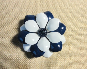 Vintage Navy Blue and White Metal Enameled 3 Layered Petals Flower Brooch/Pin