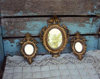 Vintage Italian Mirror Mirrors Set Italy Baroque Frame Ornate Antique French Gold French Country Mid Century Wall Decor Hollywood Regency