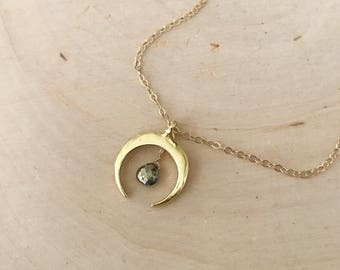 Gold Double Horn ( Crescent Moon ) and Pyrite Gemstone Necklace. Neutral, Geometric, Minimalist, trend.