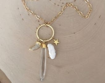 Long Gold Gemstone Charm Necklace. crystal quartz Point. Freshwater pearl. Cubic zirconia horn charm. Star charm