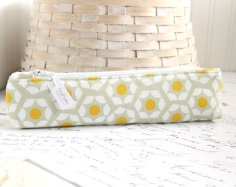 Skinny Pencil Pouch Yellow and Gray Geometric Pencil Case Cute Students Back to School