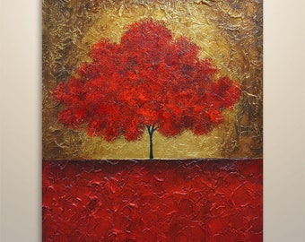 "Abstract Painting Acrylic Original Modern Heavy Textured Painting Art by Gabriela 40""x30"" Tree Landscape Modern Abstract Painting red gold"