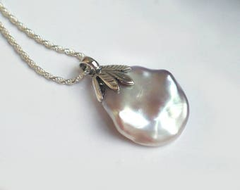 Large Keshi Petal Pearl Pendant | Silvery Pink Lavender Freshwater Pearl | Leaf Motif Sterling Silver Pendant Necklace | Ready to Ship