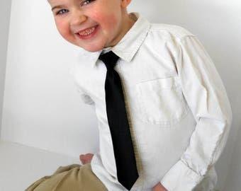 SALE Black Satin Necktie - Skinny or Standard WIdth - Infant, Toddler, Boy-         2 weeks before shipping