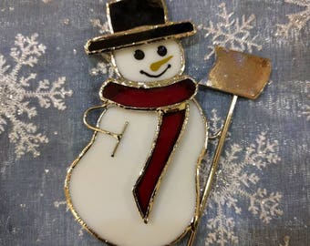 Stained Glass Snowman Sun Catcher