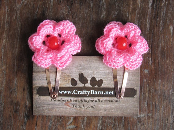 CraftyBarn exclusive handmade pink flower hair clips set of 2