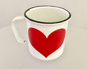 Vintage Arabia Finland Finel Enameled Mug Red Heart Kaj Frank