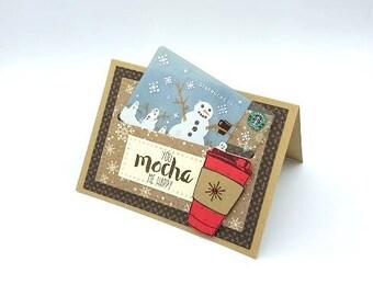 Coffee Shop Gift Card Holder/Gift Card/Christmas Card/Teacher Card/Coach Card/Secular Card//Secular Card/Seasonal Card/Mocha/Thank You Card