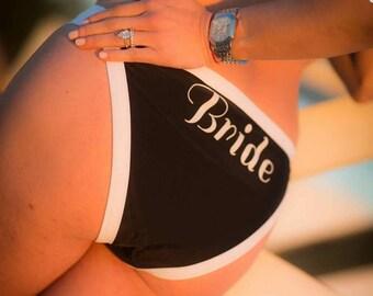 Black & white halter BRIDE BIKINI, ladies swimwear  Honeymoon/wedding lingerie,sexy, bridal shower, bride. Swimsuit, bathing suit, beach