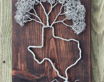 Wire Tree Sculpture Wood Plaque - State Home Decor - Tree Of Life Wire Worked Wall Hanging
