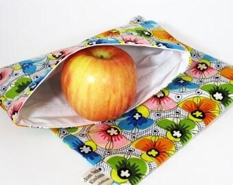 Fan Flowers Flowers Sandwich and Snack Bag Set, Reusable