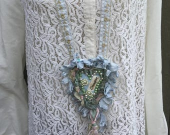 Imagine Textile Art Necklaace, Handmade Fabric Heart Necklace, Shabby Chic Romantic Blue,Teal and Tan, Mixed Media, Wearable Art, Victorian