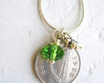 1966 IRISH Wolfhound Coin Lucky Four Leaf Clover Charm Necklace-6 Pence Ireland Jewelry