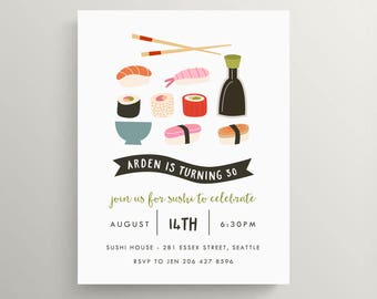 sushi birthday invitation set  //  baby shower //  bridal shower // luncheon // take out // fish // engagement party // couples shower