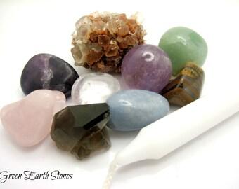 Crystal Energy Kit, Angelite, Quartz, Amethyst, Tiger Eye, Aventurine, Smoky Quartz, Fluorite, Rose Quartz, Aragonite, White Candle, Pouch