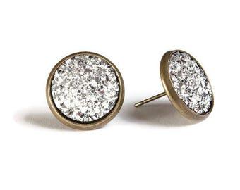 Silver textured stud earrings - Faux Druzy earrings - Textured earrings - Post earrings - Nickel free - lead free - cadmium free (828)