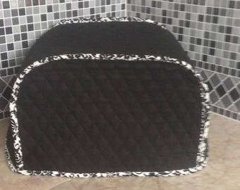 Black 4 Slice Toaster Cover with Black and White Trim Ready to Ship Next Business Day